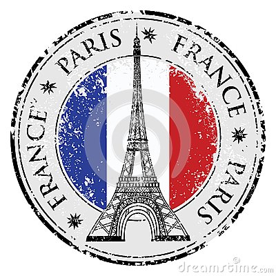Free Paris Town In France Grunge Stamp, Eiffel Tower Vector Royalty Free Stock Photos - 44525768