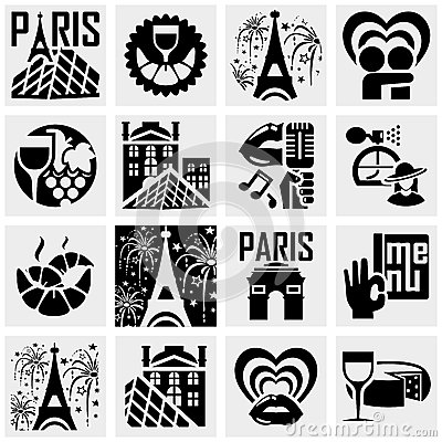 Paris vector icons set on gray.