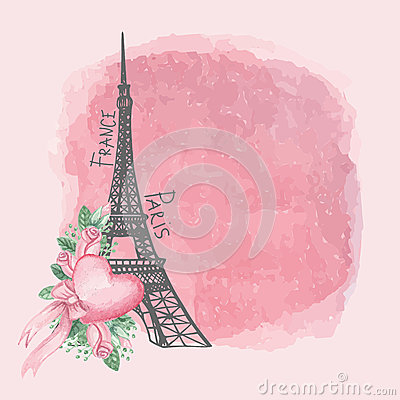 Free Paris Vintage Card.Eiffel Tower,Watercolor Pink Royalty Free Stock Photos - 52555008