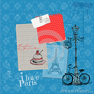 Paris Vintage Card with Stamps