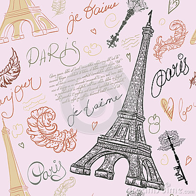 Free Paris. Vintage Seamless Pattern With Eiffel Tower, Ancient Keys, Feathers And Hand Drawn Lettering. Royalty Free Stock Images - 60658699