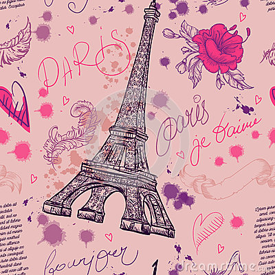 Free Paris. Vintage Seamless Pattern With Eiffel Tower, Flowers, Feathers And Text. Royalty Free Stock Images - 62719769