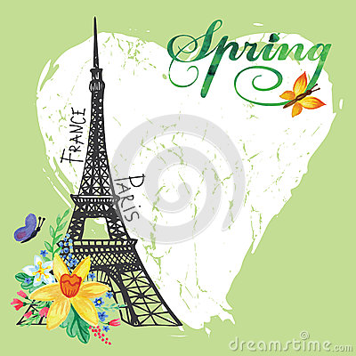 Free Paris Vintage Spring Card.Eiffel Tower,Watercolor Stock Photo - 53421360