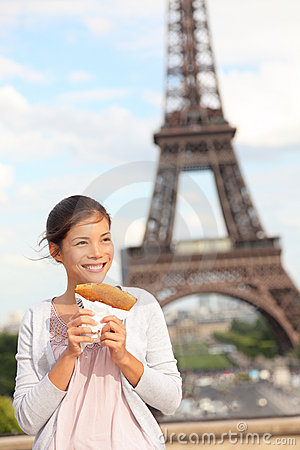 Free Paris Woman And Eiffel Tower Stock Images - 20454674