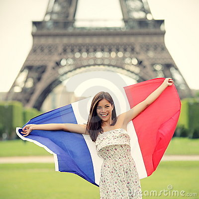 Free Paris Woman French Flag Stock Photography - 20358522