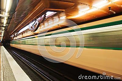 Parisian Metro in motion blur