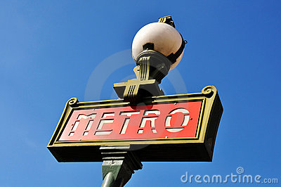 Parisian metro sign Editorial Stock Image