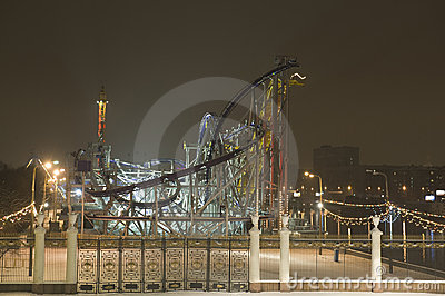 Park of attractions in the night