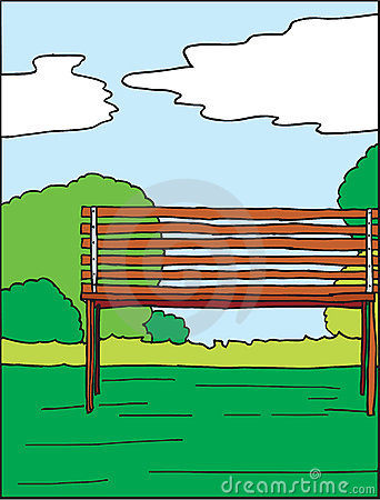 Park and bench hand drawn vector