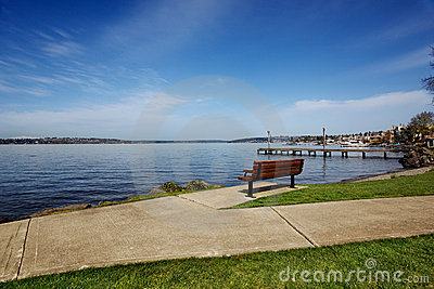 Park bench overlooking Lake Washington