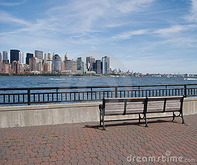 Park Bench and view of New York City skyline