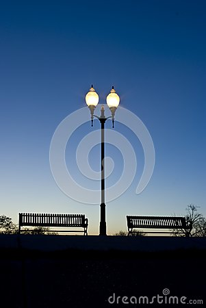 Park benches in the evening