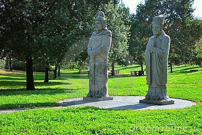 Park with Chinese statues