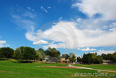 Park and Dramatic Sky