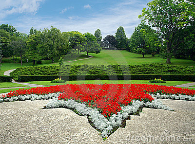 Park with flowerbed