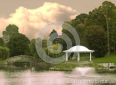 Park with gazebo scenic
