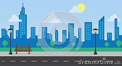 Park-Gebäude-und Straßen-Tageslicht