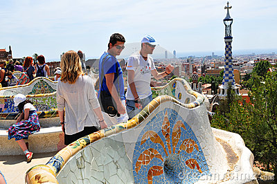 Park Guell in Barcelona, Spain Editorial Photography