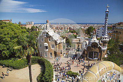 Park Guell in Barcelona, Spain. Editorial Stock Image