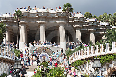 Park Guell from bottom point. Editorial Stock Photo