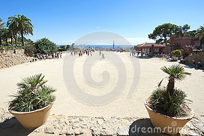 Park Guell plateau, Barcelona, Spain Editorial Image