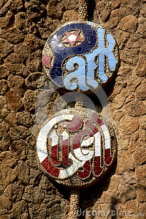 Park Guell sign at the entrance , Barcelone, Spain
