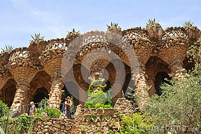 Park Guell viaducts in Barcelona, Spain Editorial Image