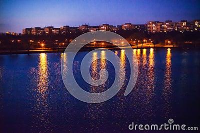 Park lake at night
