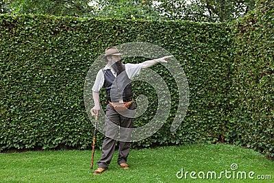 Park owner showing garden design