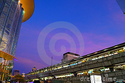Park paragon and skytrain Editorial Stock Image