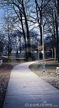 Park path at dusk