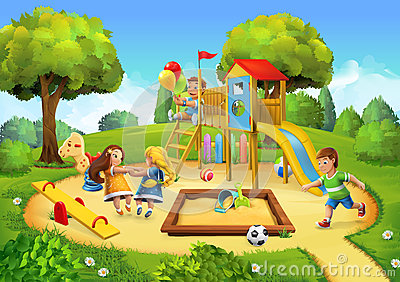 Park, playground background Vector Illustration