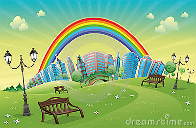 Park with rainbow.