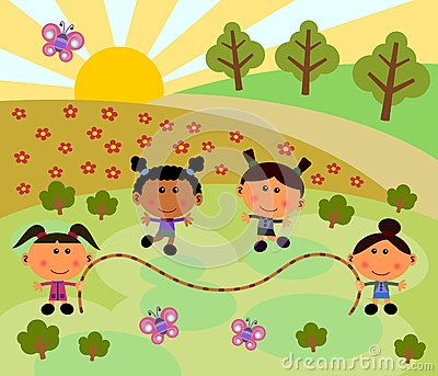 Park scene with jump rope