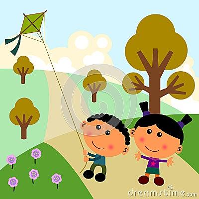 Park scene with kite