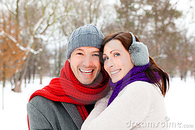 Park snow couple