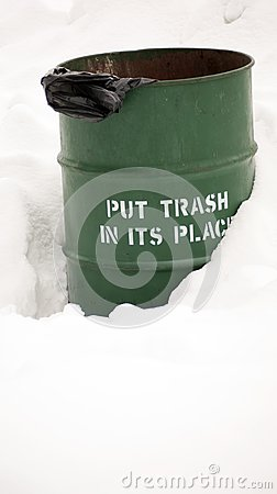 Park Trash Barrel in the Snow