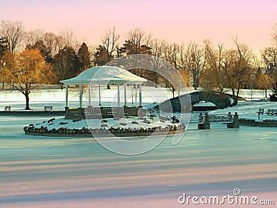 Park w zimie