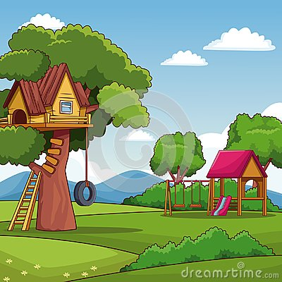 Free Park With Tree House And Playhouse Royalty Free Stock Images - 120135279