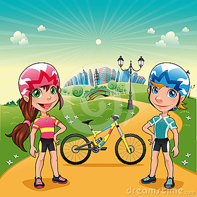 Park with young bikers.