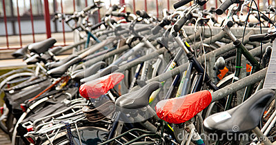 Parked bicycles at the station