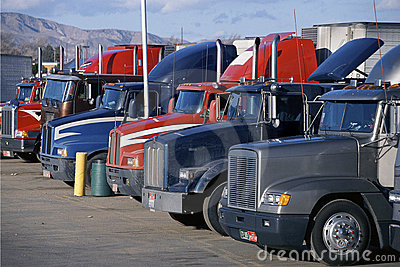 Parked Big Rig Trucks Editorial Stock Image