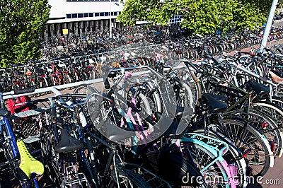 Parked bikes in Amsterdam