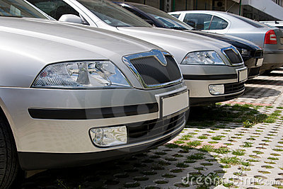 Parked cars, close-up