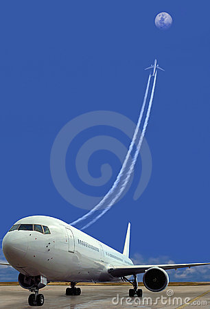 Free Parked Plane, Taking-off. Success. Concept. Stock Image - 18155631