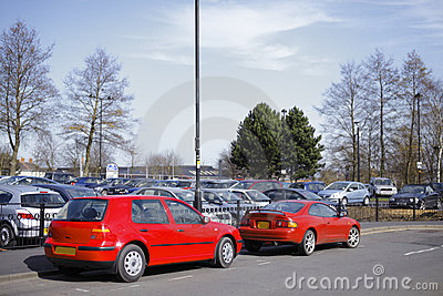 Parked red cars
