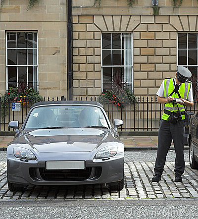 Free Parking Attendant, Traffic Warden, Getting Ticket Fine Mandate Stock Photo - 1742190