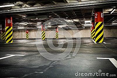 Parking garage in basement, underground interior