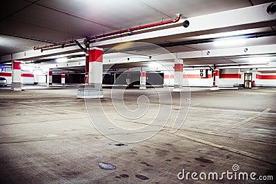 Parking garage, grunge underground interior