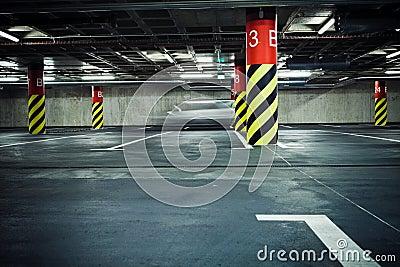 Parking garage underground, blurred
